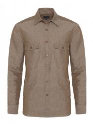 Germirli - Germirli A.Kahve Cepli Keten Overshirt Tailor Fit Gömlek