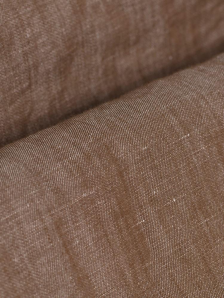 Germirli A.Kahve Cepli Keten Overshirt Tailor Fit Gömlek