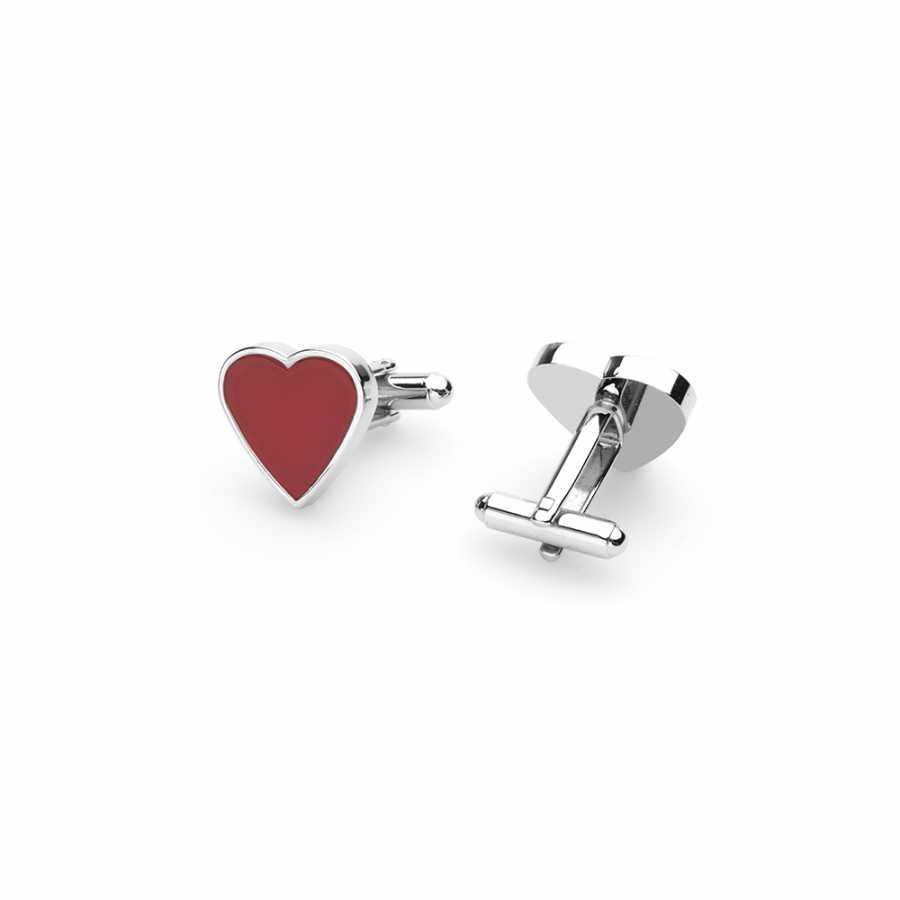 Germirli Kırmızı Kalp Kol Düğmesi