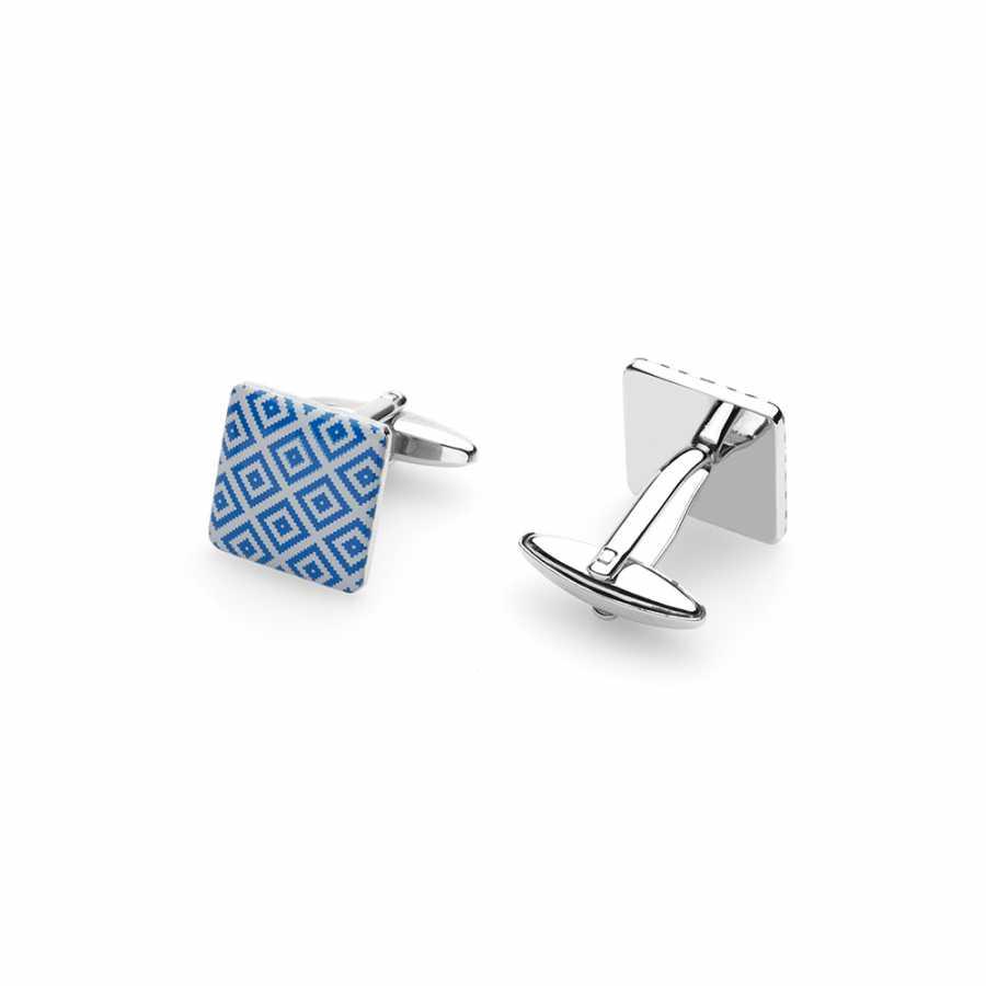 Germirli - Germirli Kare Desenli Mavi Kol Düğmesi