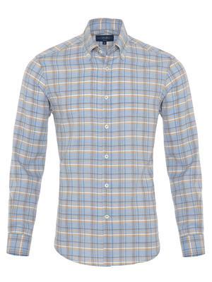 Germirli - Germirli A.Mavi Bej Kareli Düğmeli Yaka Flanel Tailor Fit Kaşmir Gömlek