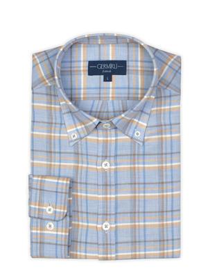 Germirli - Germirli A.Mavi Bej Kareli Düğmeli Yaka Flanel Tailor Fit Kaşmir Gömlek (1)