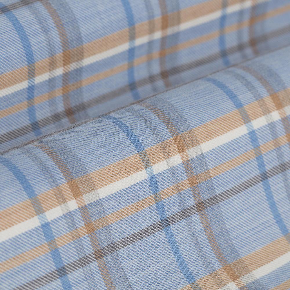 Germirli A.Mavi Bej Kareli Düğmeli Yaka Flanel Tailor Fit Kaşmir Gömlek