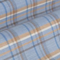 Germirli A.Mavi Bej Kareli Düğmeli Yaka Flanel Tailor Fit Kaşmir Gömlek - Thumbnail