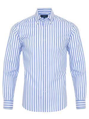 Germirli A.Mavi Beyaz Çizgili Düğmeli Yaka Tailor Fit Gömlek