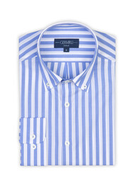 Germirli A.Mavi Beyaz Çizgili Düğmeli Yaka Tailor Fit Gömlek - Thumbnail