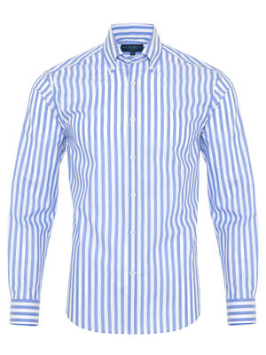 Germirli - Germirli A.Mavi Beyaz Çizgili Düğmeli Yaka Tailor Fit Gömlek