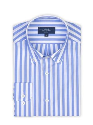 Germirli - Germirli A.Mavi Beyaz Çizgili Düğmeli Yaka Tailor Fit Gömlek (1)