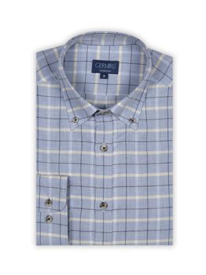 Germirli - Germirli A.Mavi Kahve Beyaz Kareli Flanel Kaşmir Tailor Fit Gömlek (1)