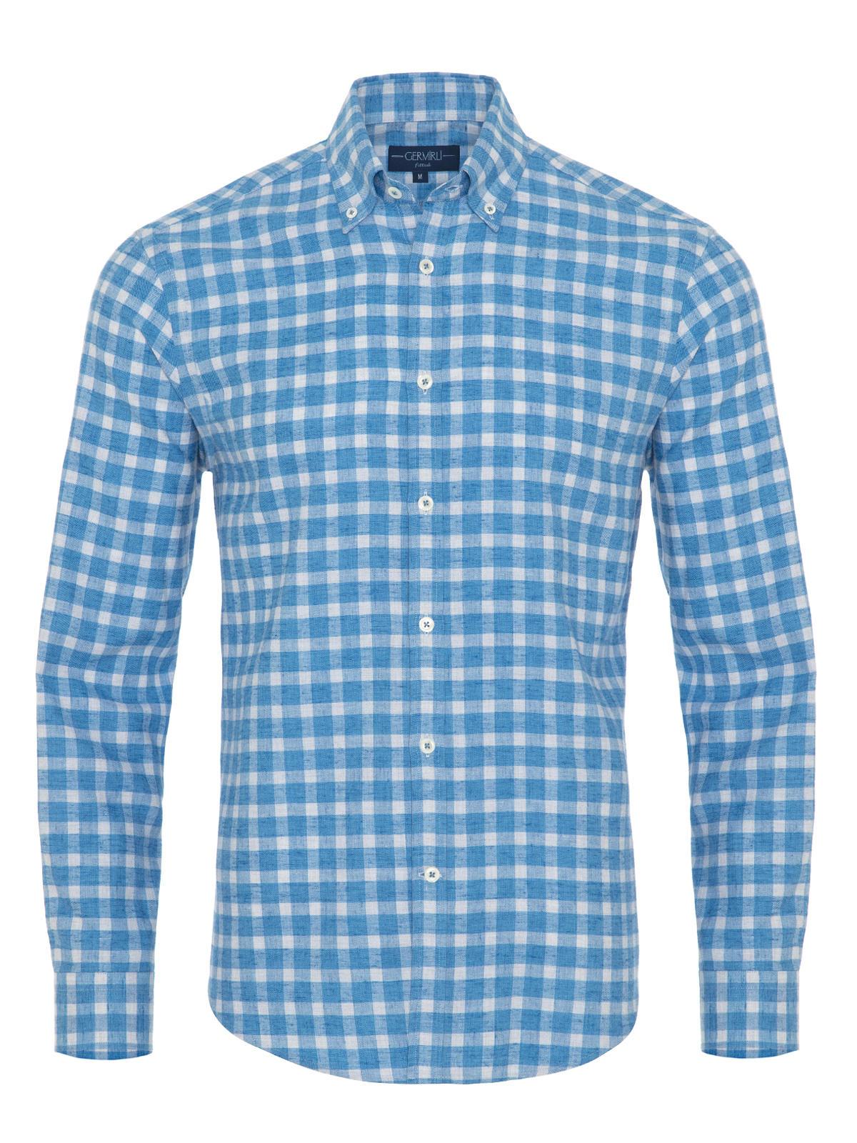 Germirli A.Mavi Kareli Düğmeli Yaka Flanel Tailor Fit Gömlek
