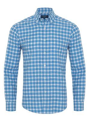 Germirli - Germirli A.Mavi Kareli Düğmeli Yaka Flanel Tailor Fit Gömlek