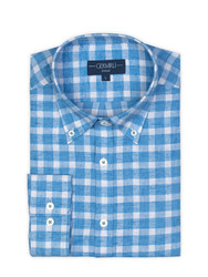 Germirli A.Mavi Kareli Düğmeli Yaka Flanel Tailor Fit Gömlek - Thumbnail