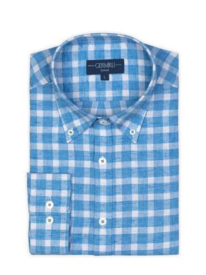 Germirli - Germirli A.Mavi Kareli Düğmeli Yaka Flanel Tailor Fit Gömlek (1)