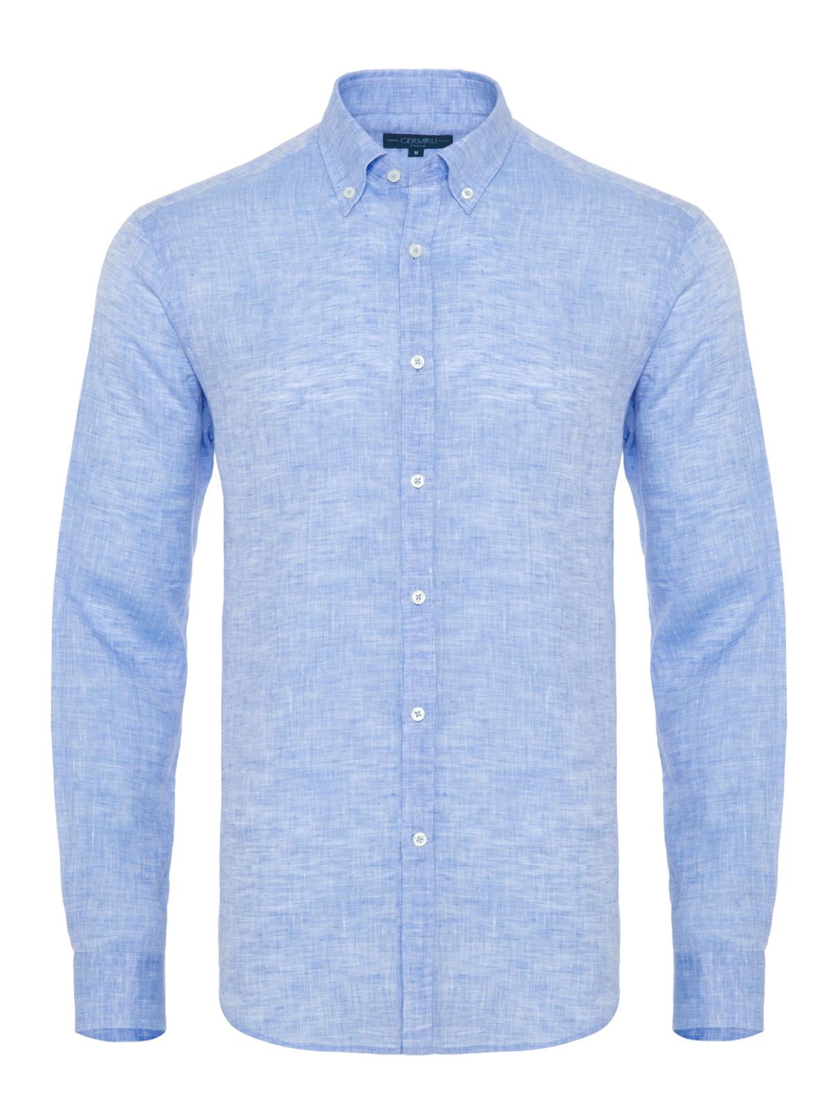 Germirli A.Mavi Keten Düğmeli Yaka Tailor Fit Gömlek