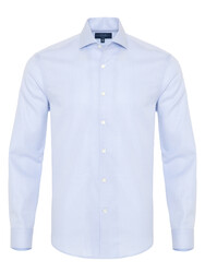Germirli - Germirli Light Blue Honeycomb Textured One Piece Collar Tailor Fit Shirt