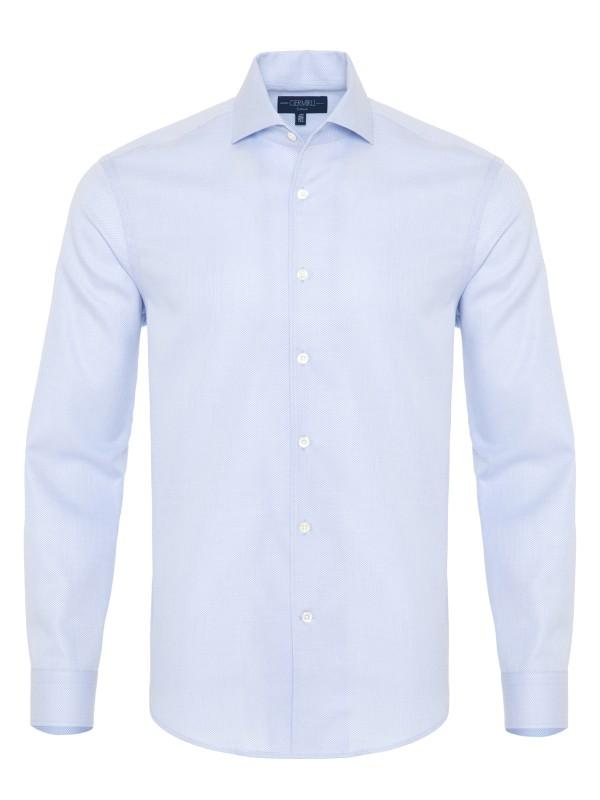 Germirli - Germirli A.Mavi Petek Dokulu Nevapas Tek Parça Yaka Tailor Fit Gömlek