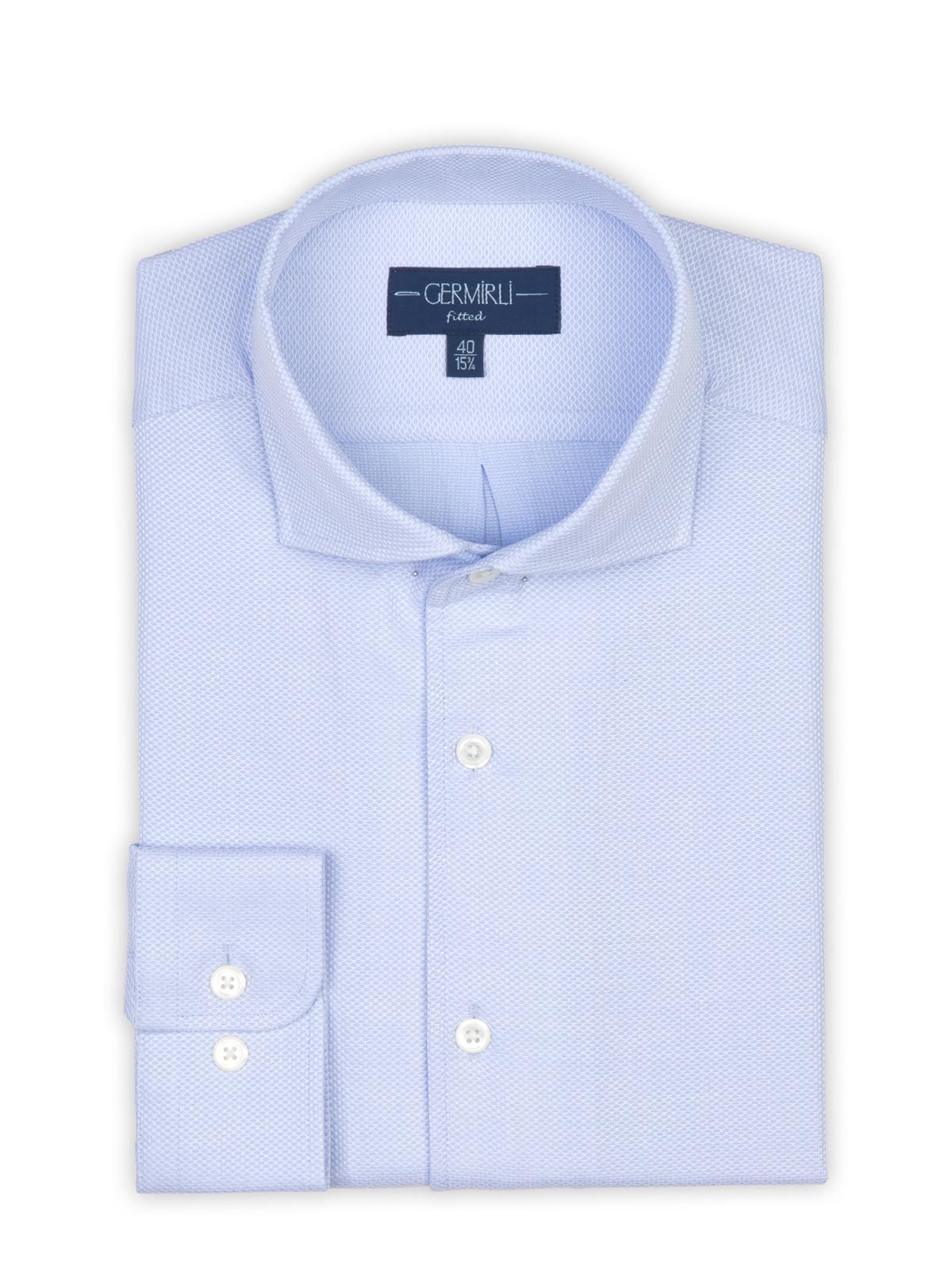 Germirli A.Mavi Petek Dokulu Nevapas Tek Parça Yaka Tailor Fit Gömlek
