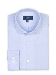 Germirli - Germirli Light Blue Honeycomb Textured One Piece Collar Tailor Fit Shirt (1)
