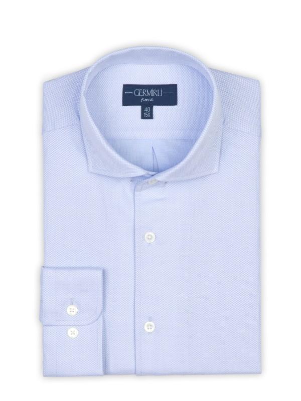 Germirli - Germirli A.Mavi Petek Dokulu Nevapas Tek Parça Yaka Tailor Fit Gömlek (1)