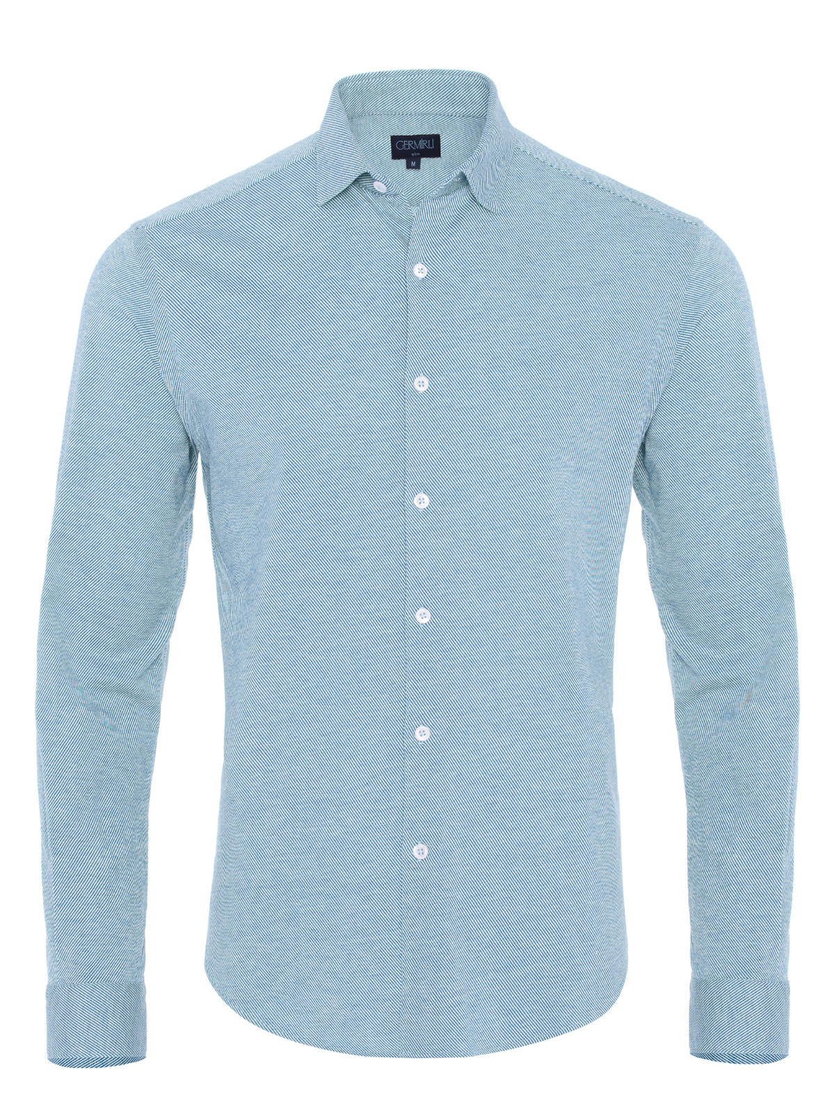 Germirli A.Mavi Twill Penye Klasik Yaka Örme Slim Fit Gömlek