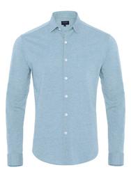 Germirli A.Mavi Twill Penye Klasik Yaka Örme Slim Fit Gömlek - Thumbnail