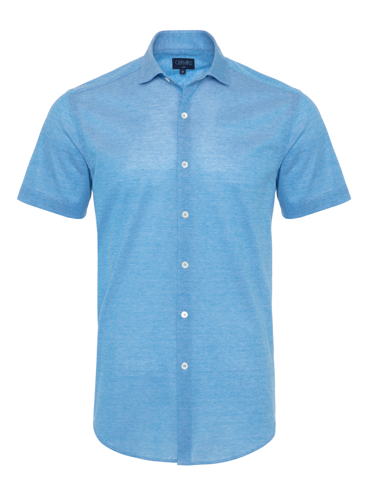 Germirli - Germirli Azur Mavisi Klasik Yaka Piquet Örme Kısa Kollu Slim Fit Gömlek