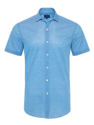 Germirli - Germirli Cerulean Blue Soft Collar Jersey Short Sleeve Slim Fit Shirt