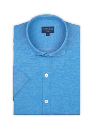 Germirli - Germirli Cerulean Blue Soft Collar Jersey Short Sleeve Slim Fit Shirt (1)