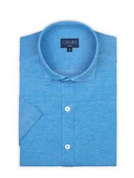 Germirli - Germirli Azur Mavisi Klasik Yaka Piquet Örme Kısa Kollu Slim Fit Gömlek (1)