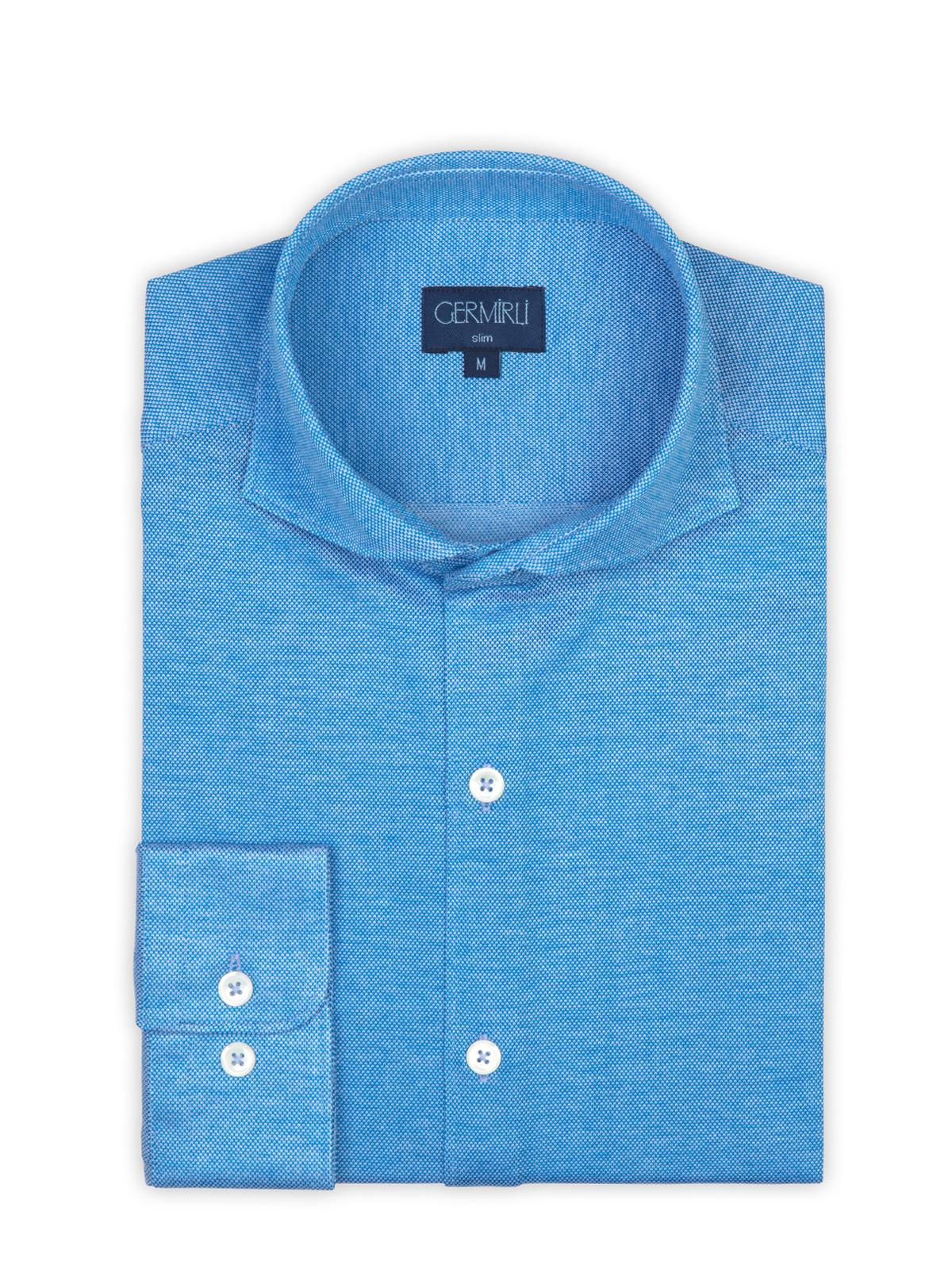 Germirli Azur Mavisi Klasik Yaka Piquet Örme Slim Fit Gömlek