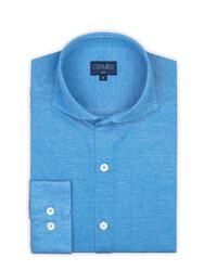 Germirli - Germirli Cerulean Blue Soft Collar Jersey Slim Fit Shirt (1)