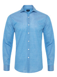 Germirli - Germirli Azur Mavisi Klasik Yaka Piquet Örme Slim Fit Gömlek