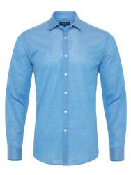 Germirli - Germirli Azur Mavisi Klasik Yaka Piquet Örme Tailor Fit Gömlek