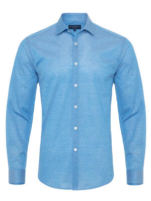 Germirli - Germirli Cerulean Blue Soft Collar Jersey Tailor Fit Shirt