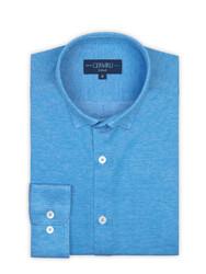 Germirli Azur Mavisi Klasik Yaka Piquet Örme Tailor Fit Gömlek - Thumbnail