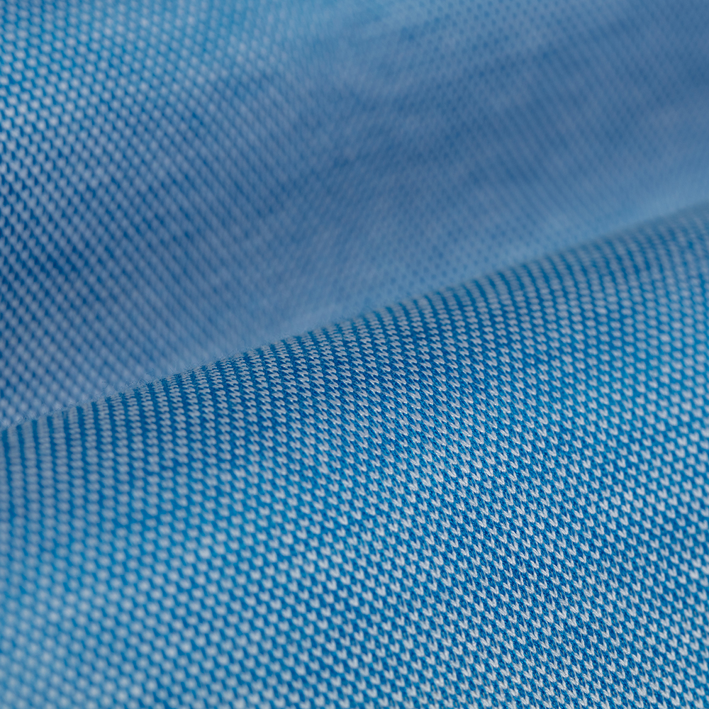 Germirli Azur Mavisi Klasik Yaka Piquet Örme Tailor Fit Gömlek