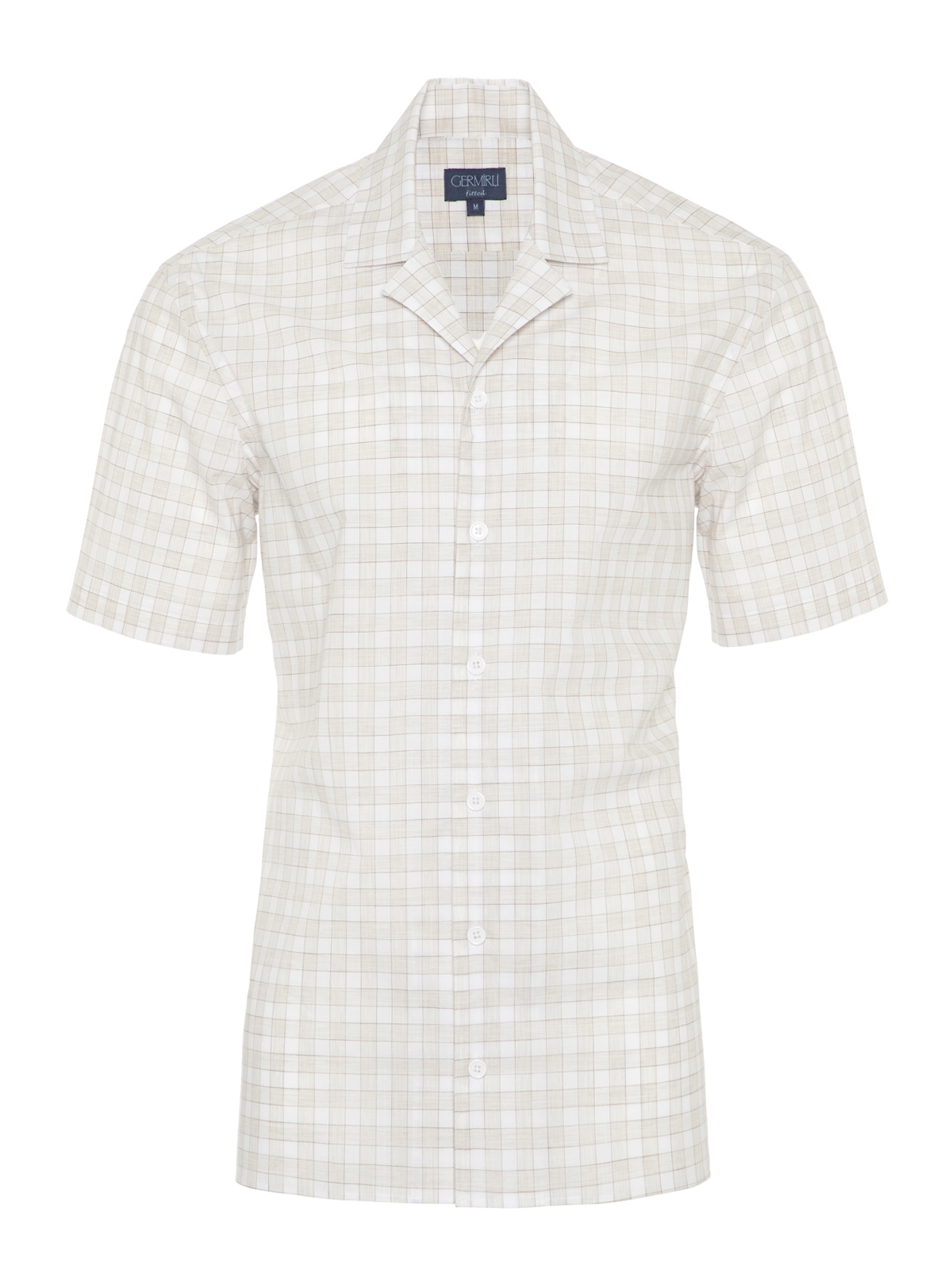 Germirli Bej Beyaz Kareli Hawaii Kısa Kollu Tailor Fit Gömlek
