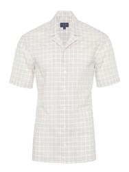 Germirli - Germirli Bej Beyaz Kareli Hawaii Kısa Kollu Tailor Fit Gömlek