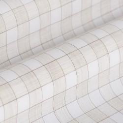 Germirli Bej Beyaz Kareli Hawaii Kısa Kollu Tailor Fit Gömlek - Thumbnail
