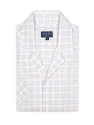 Germirli - Germirli Bej Beyaz Kareli Hawaii Kısa Kollu Tailor Fit Gömlek (1)