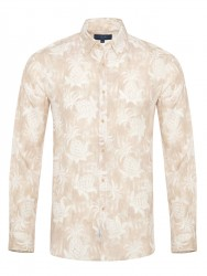 Germirli - Germirli Bej Çiçek Şal Desen Keten Düğmeli Yaka Tailor Fit Gömlek