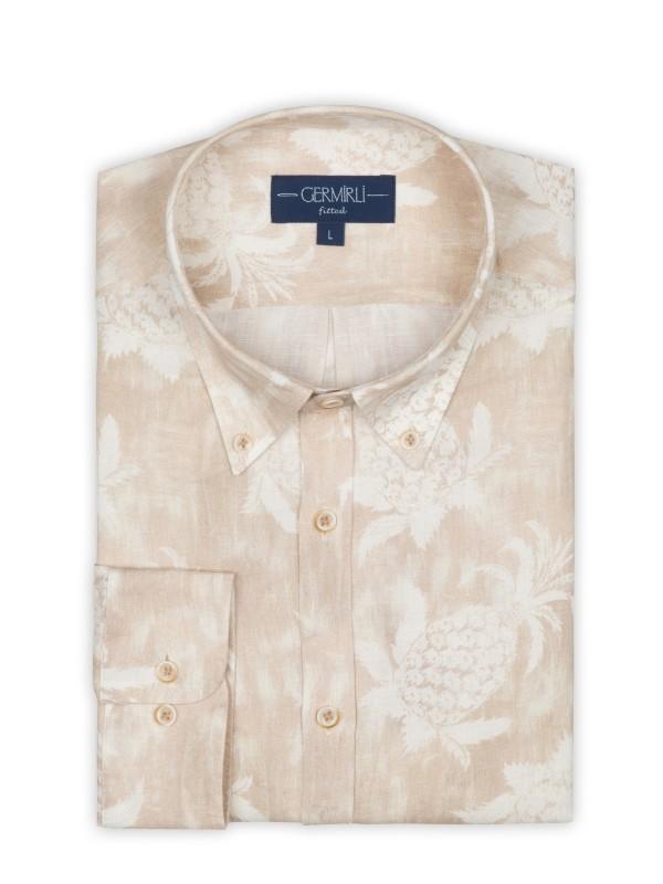 Germirli - Germirli Bej Çiçek Şal Desen Keten Düğmeli Yaka Tailor Fit Gömlek (1)