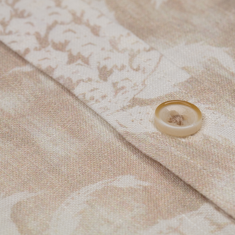 Germirli Bej Çiçek Şal Desen Keten Düğmeli Yaka Tailor Fit Gömlek