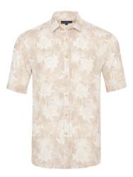 Germirli - Germirli Bej Çiçek Şal Desen Keten Kısa Kollu Tailor Fit Gömlek