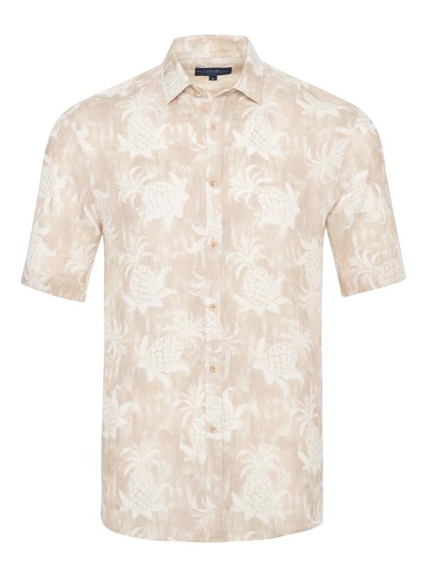 Germirli Bej Çiçek Şal Desen Keten Kısa Kollu Tailor Fit Gömlek