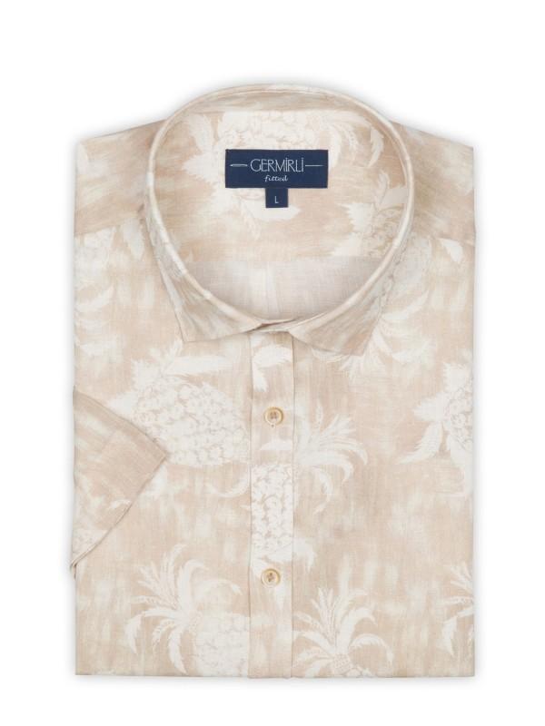 Germirli - Germirli Bej Çiçek Şal Desen Keten Kısa Kollu Tailor Fit Gömlek (1)