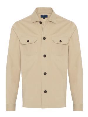 Germirli - Germirli Bej Diagonel Dokulu Tailor Fit Ceket Gömlek