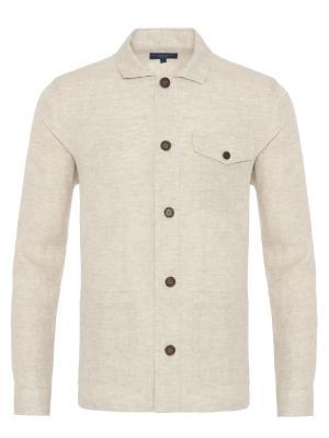 Germirli - Germirli Bej Dokulu Delave Keten Tailor Fit Ceket Gömlek