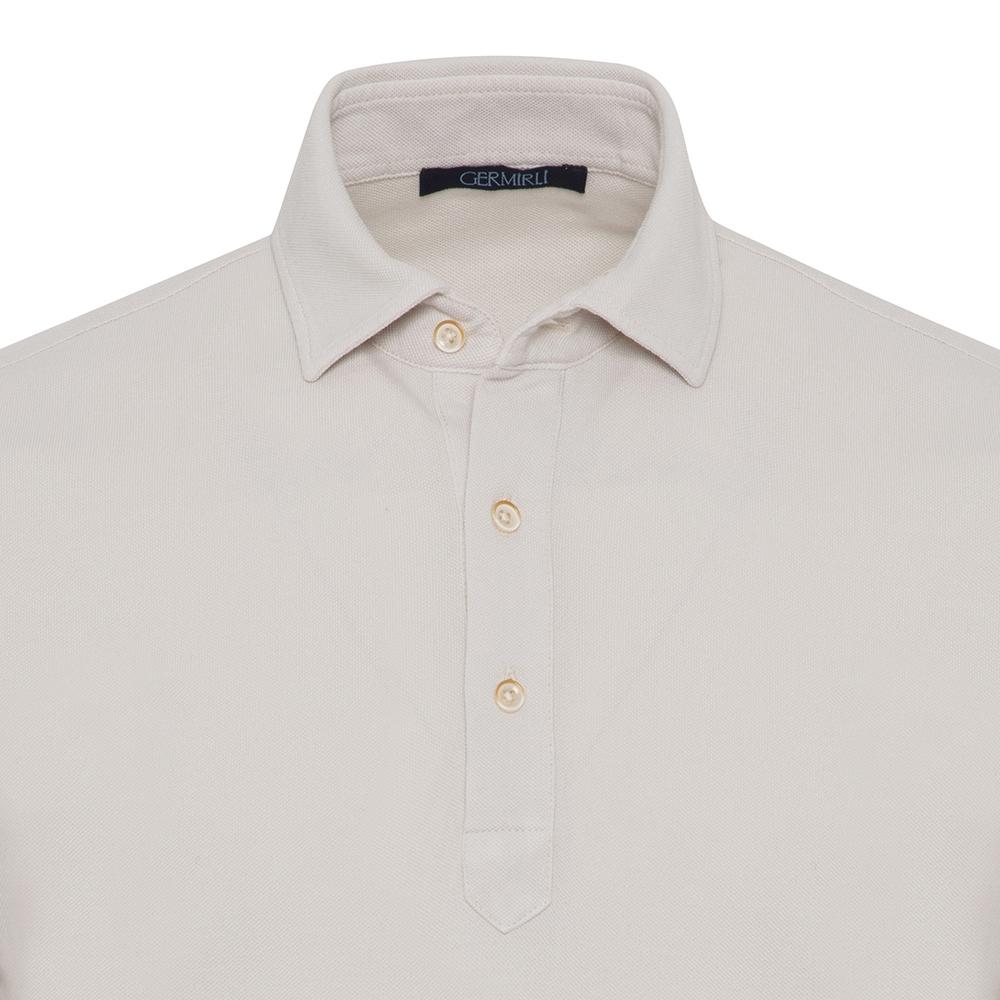Germirli Bej Gömlek Yaka Polo Vintage Tailor Fit T-Shirt