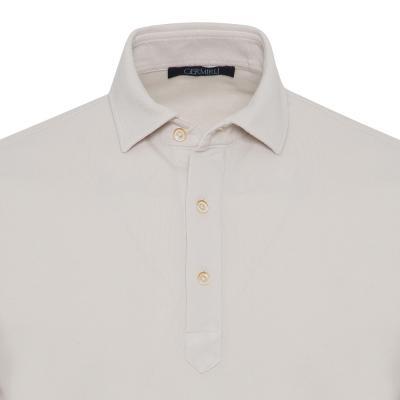Germirli - Germirli Bej Gömlek Yaka Polo Vintage Tailor Fit T-Shirt (1)